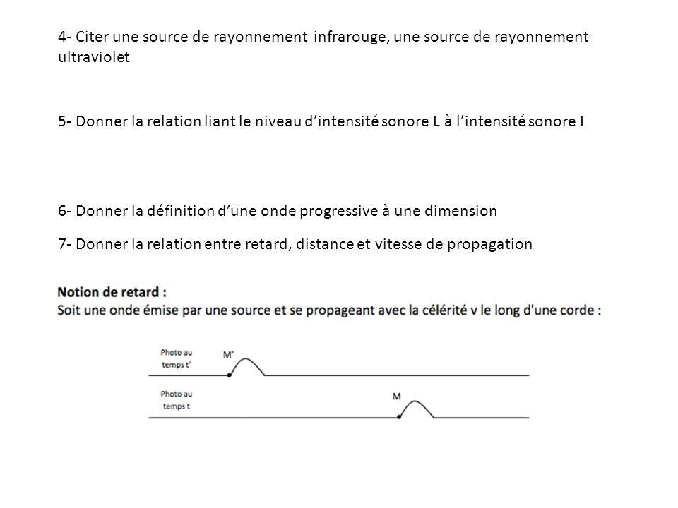 4- Citer une source de rayonnement infrarouge, une source de rayonnement ultraviolet 5- Donner la relation liant le niveau dintensité sonore L à lintensité sonore I 6- Donner la définition dune onde progressive à une dimension 7- Donner la relation entre retard, distance et vitesse de propagation