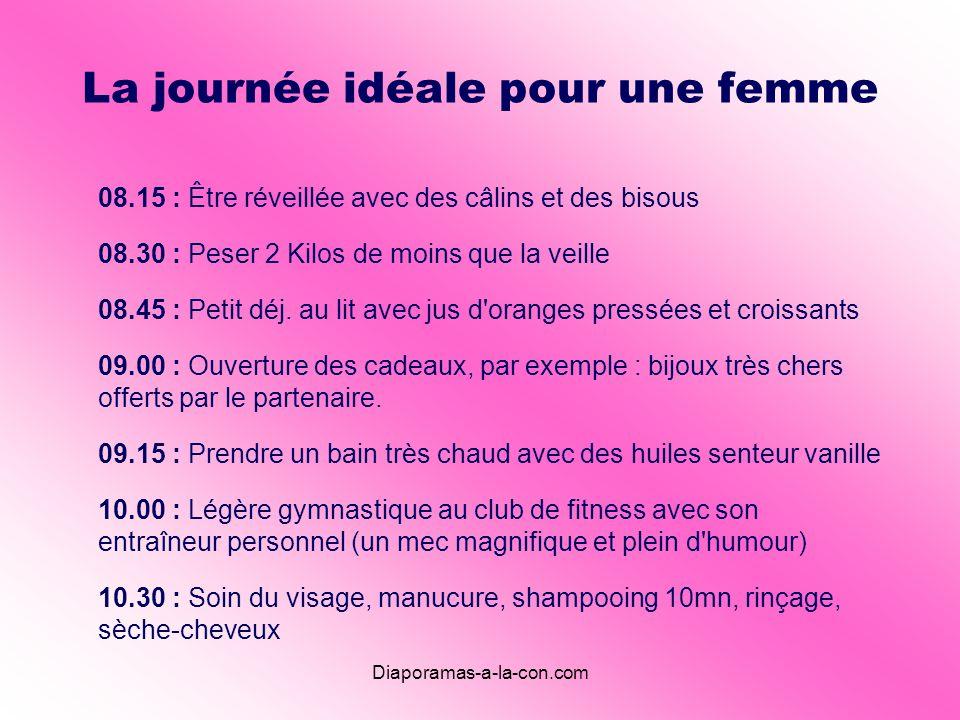 Diaporamas-a-la-con.com La journée idéale pour une femme 08.15 : Être réveillée avec des câlins et des bisous 08.30 : Peser 2 Kilos de moins que la veille 08.45 : Petit déj.