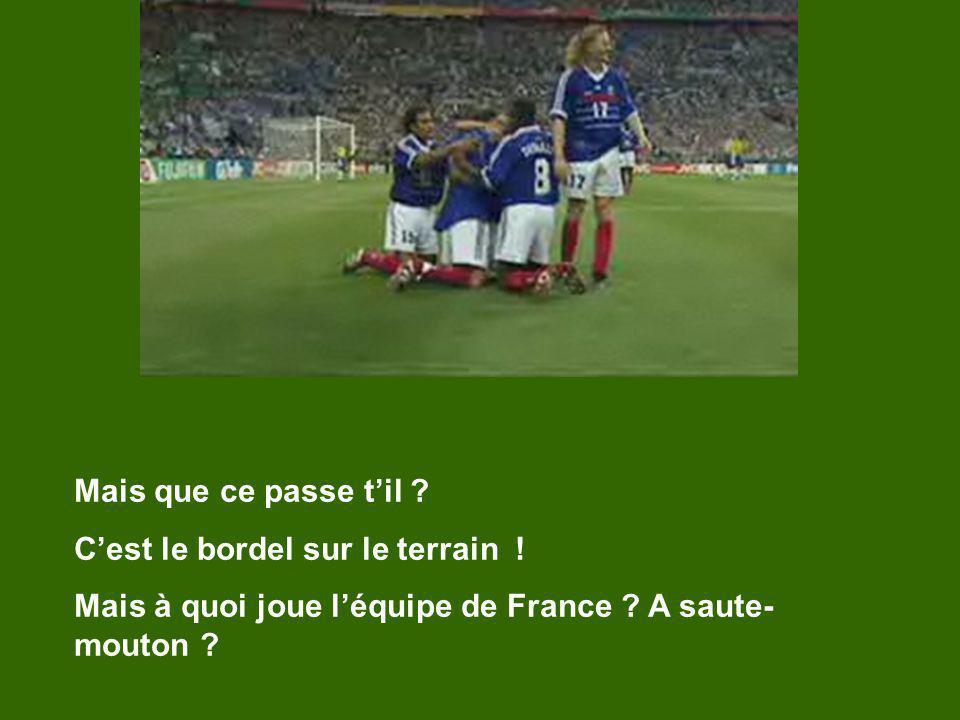 Mais que ce passe til ? Cest le bordel sur le terrain ! Mais à quoi joue léquipe de France ? A saute- mouton ?