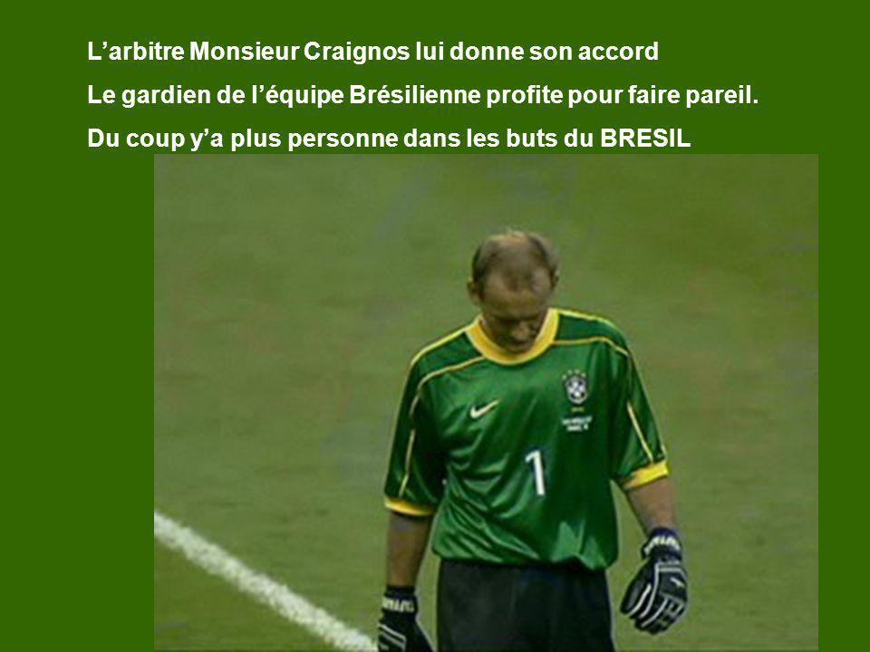 Larbitre Monsieur Craignos lui donne son accord Le gardien de léquipe Brésilienne profite pour faire pareil. Du coup ya plus personne dans les buts du