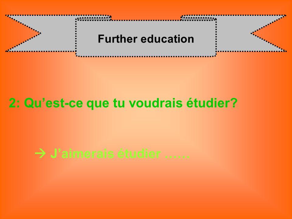 Further education 2: Quest-ce que tu voudrais étudier? J aimerais étudier ……
