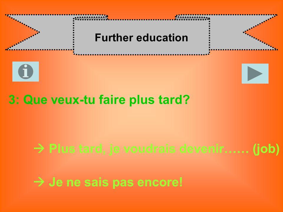 Further education 3: Que veux-tu faire plus tard? Plus tard, je voudrais devenir…… (job) Je ne sais pas encore!