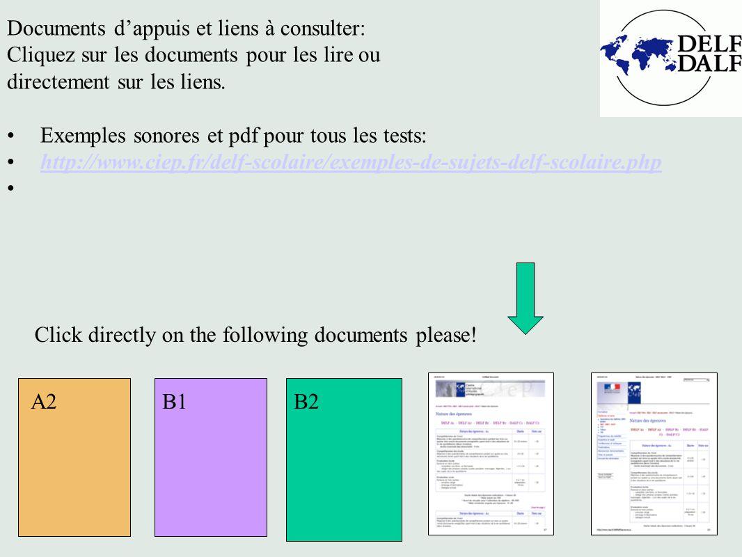 Documents dappuis et liens à consulter: Cliquez sur les documents pour les lire ou directement sur les liens. Exemples sonores et pdf pour tous les te