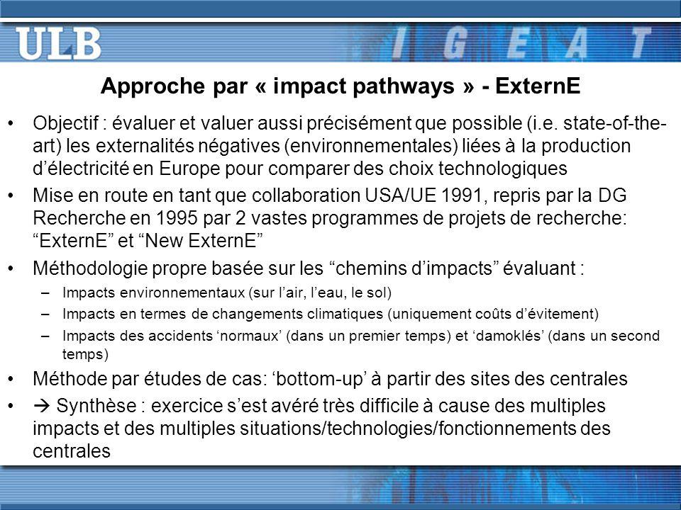 Approche par « impact pathways » - ExternE Objectif : évaluer et valuer aussi précisément que possible (i.e. state-of-the- art) les externalités négat