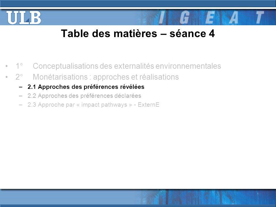 Table des matières – séance 4 1°Conceptualisations des externalités environnementales 2°Monétarisations : approches et réalisations –2.1 Approches des