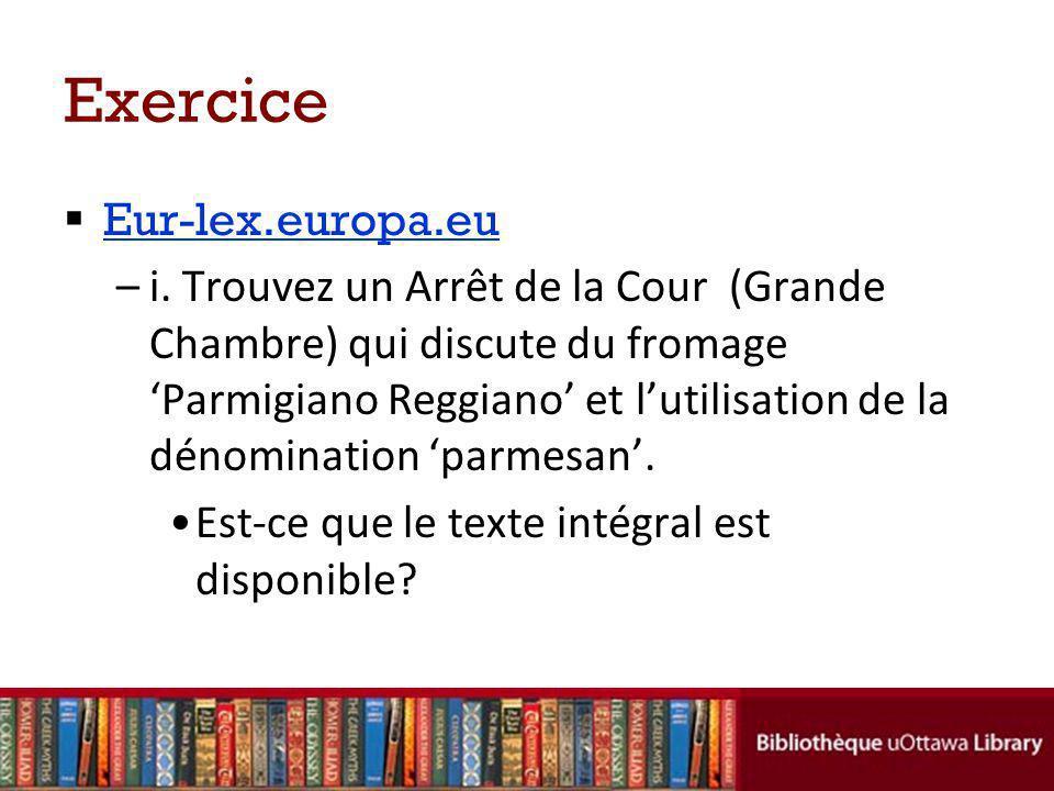 Exercice Eur-lex.europa.eu –i.