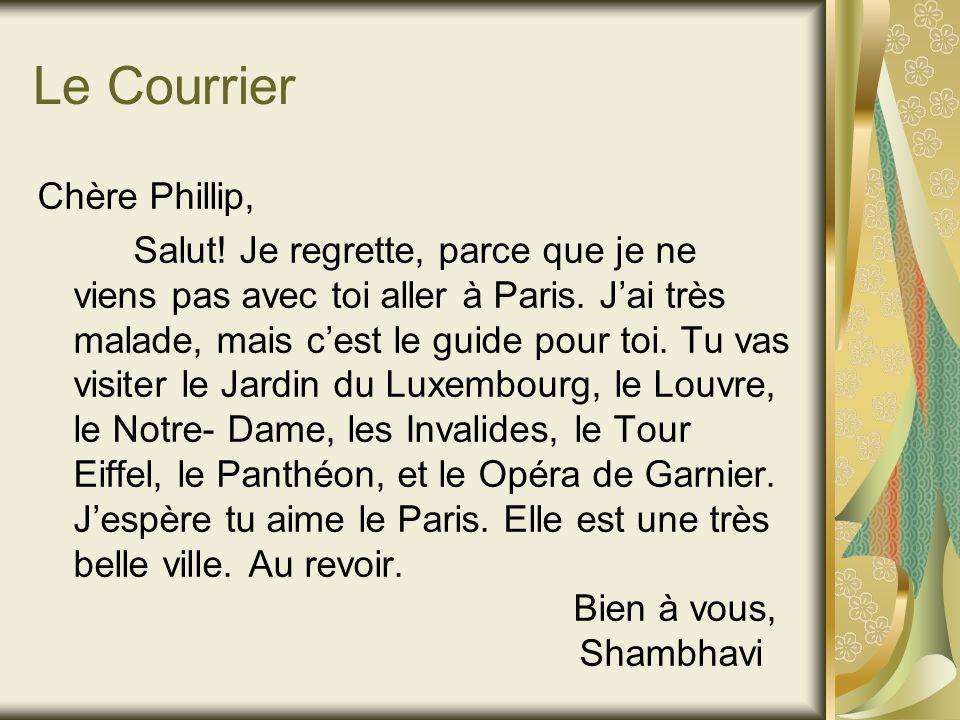 Le Courrier Chère Phillip, Salut. Je regrette, parce que je ne viens pas avec toi aller à Paris.