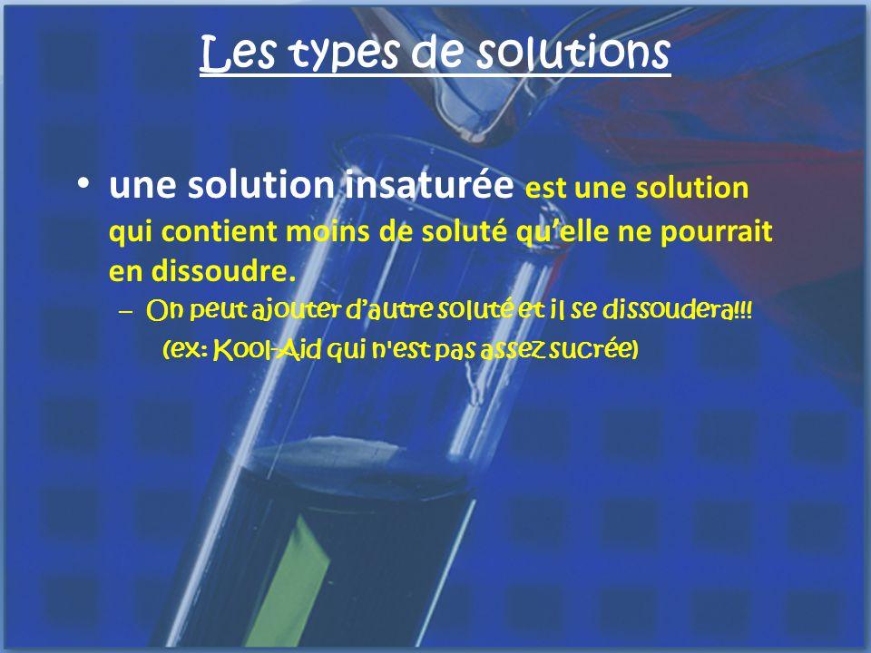 Les types de solutions une solution sursaturée contient plus de soluté quune solution saturée.