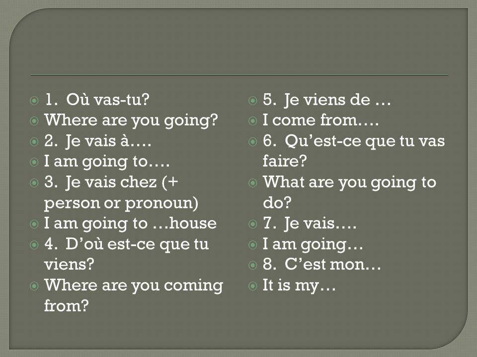 1.Où vas-tu. Where are you going. 2. Je vais à…. I am going to….
