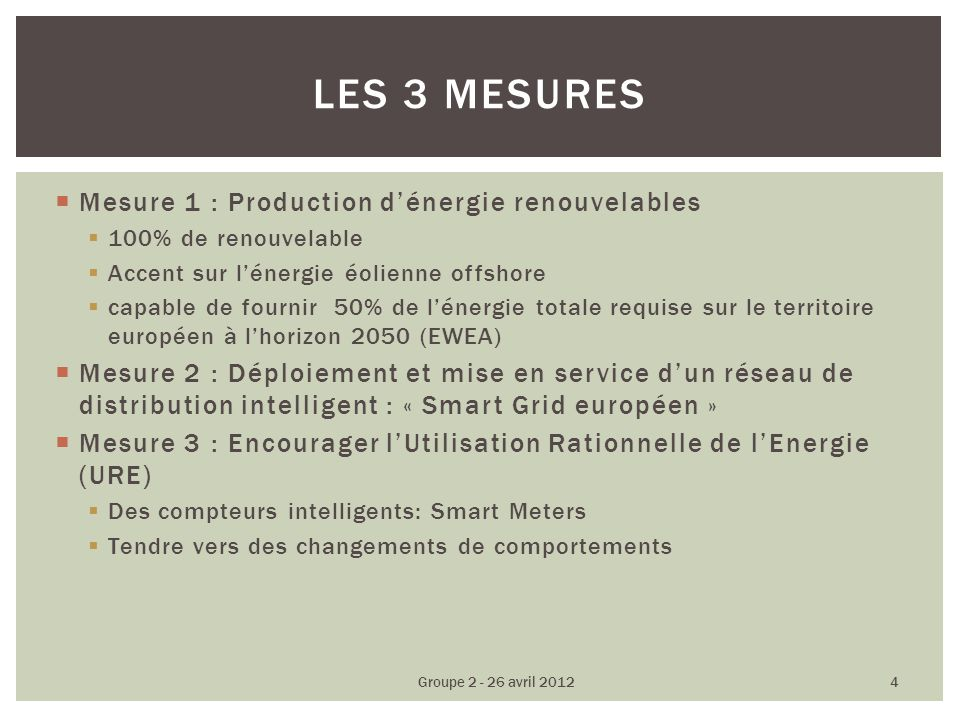 Mesure 1 : Production dénergie renouvelables 100% de renouvelable Accent sur lénergie éolienne offshore capable de fournir 50% de lénergie totale requise sur le territoire européen à lhorizon 2050 (EWEA) Mesure 2 : Déploiement et mise en service dun réseau de distribution intelligent : « Smart Grid européen » Mesure 3 : Encourager lUtilisation Rationnelle de lEnergie (URE) Des compteurs intelligents: Smart Meters Tendre vers des changements de comportements LES 3 MESURES Groupe 2 - 26 avril 2012 4