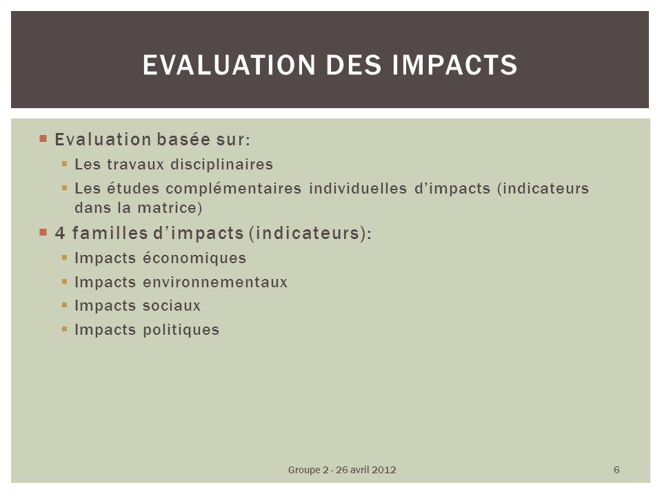 Evaluation basée sur: Les travaux disciplinaires Les études complémentaires individuelles dimpacts (indicateurs dans la matrice) 4 familles dimpacts (