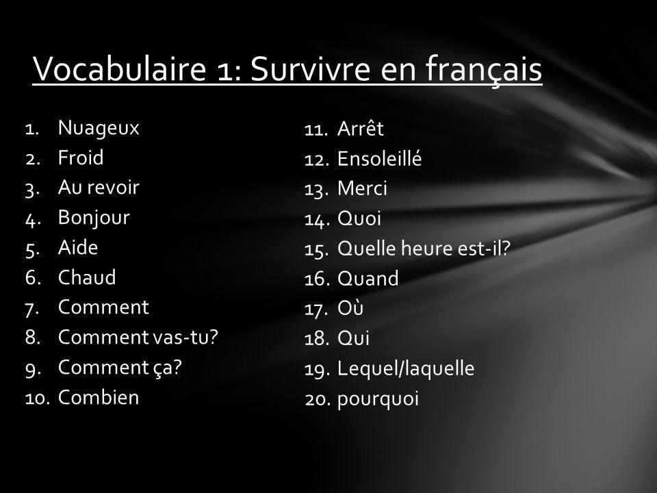 Vocabulaire 1: Survivre en français 1.Nuageux 2.Froid 3.Au revoir 4.Bonjour 5.Aide 6.Chaud 7.Comment 8.Comment vas-tu? 9.Comment ça? 10.Combien 11.Arr