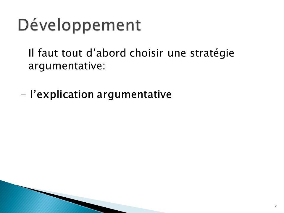 Il faut tout dabord choisir une stratégie argumentative: - lexplication argumentative 7
