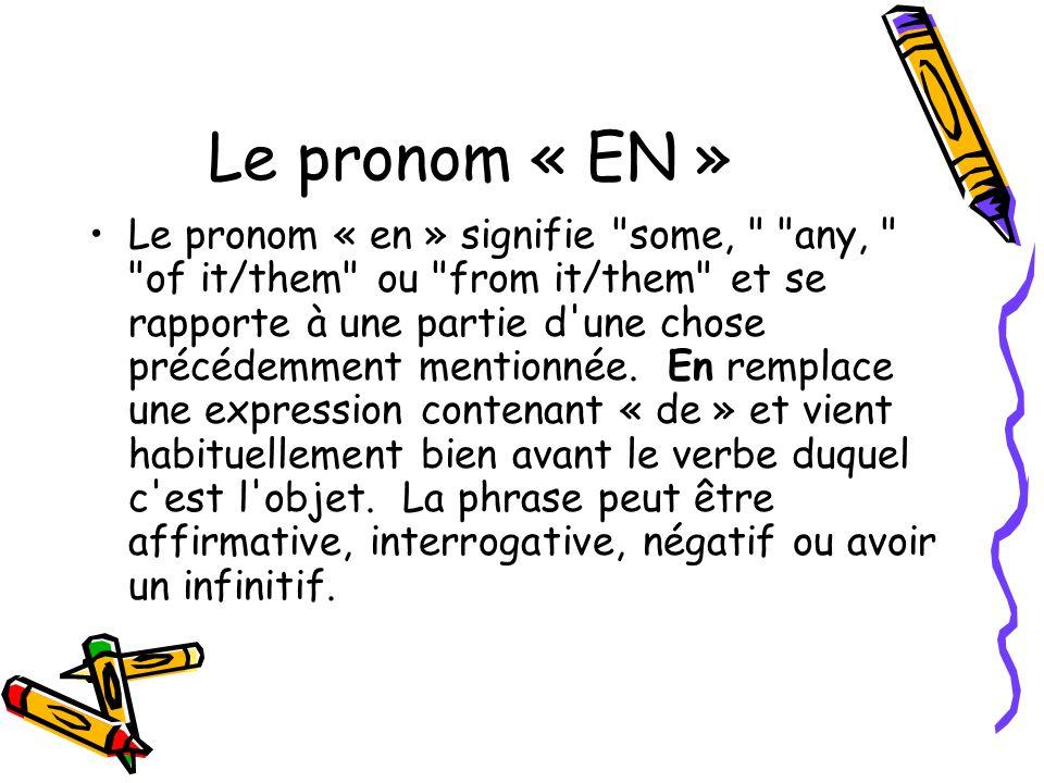 Le pronom « EN » Le pronom « en » signifie some, any, of it/them ou from it/them et se rapporte à une partie d une chose précédemment mentionnée.