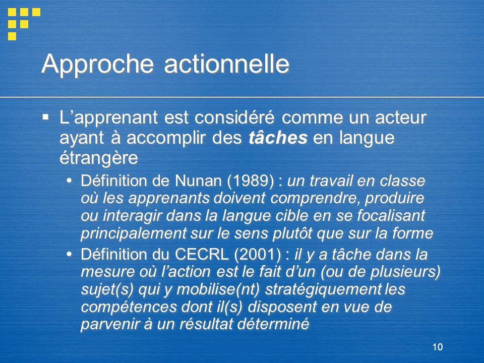 10 Approche actionnelle Lapprenant est considéré comme un acteur ayant à accomplir des tâches en langue étrangère Définition de Nunan (1989) : un trav