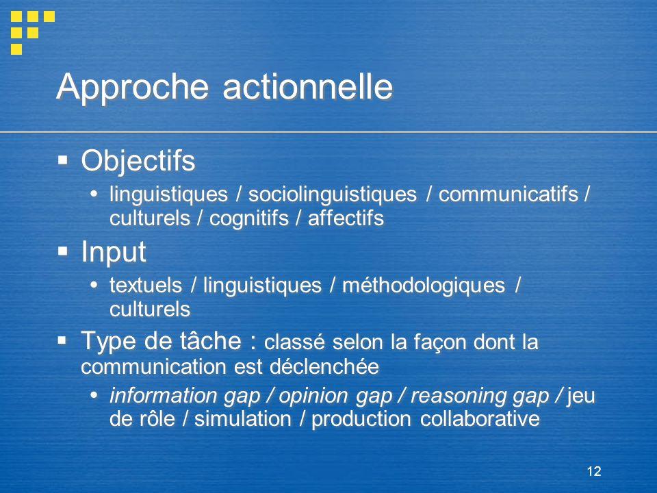 12 Approche actionnelle Objectifs linguistiques / sociolinguistiques / communicatifs / culturels / cognitifs / affectifs Input textuels / linguistique