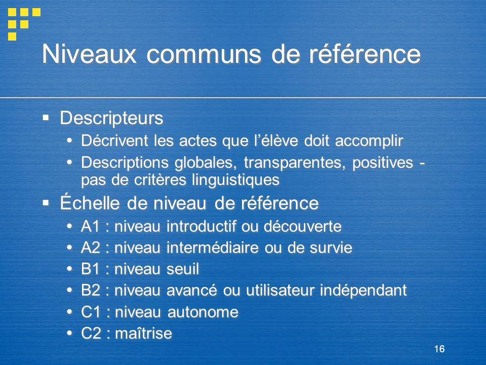 16 Niveaux communs de référence Descripteurs Décrivent les actes que lélève doit accomplir Descriptions globales, transparentes, positives - pas de cr