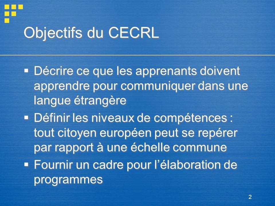 2 Objectifs du CECRL Décrire ce que les apprenants doivent apprendre pour communiquer dans une langue étrangère Définir les niveaux de compétences : t