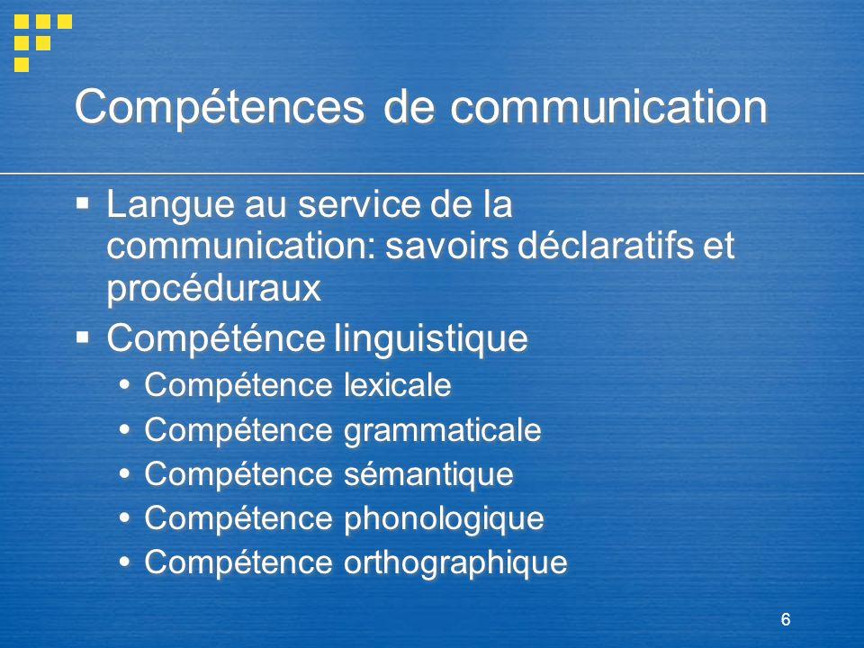 6 Compétences de communication Langue au service de la communication: savoirs déclaratifs et procéduraux Compéténce linguistique Compétence lexicale C