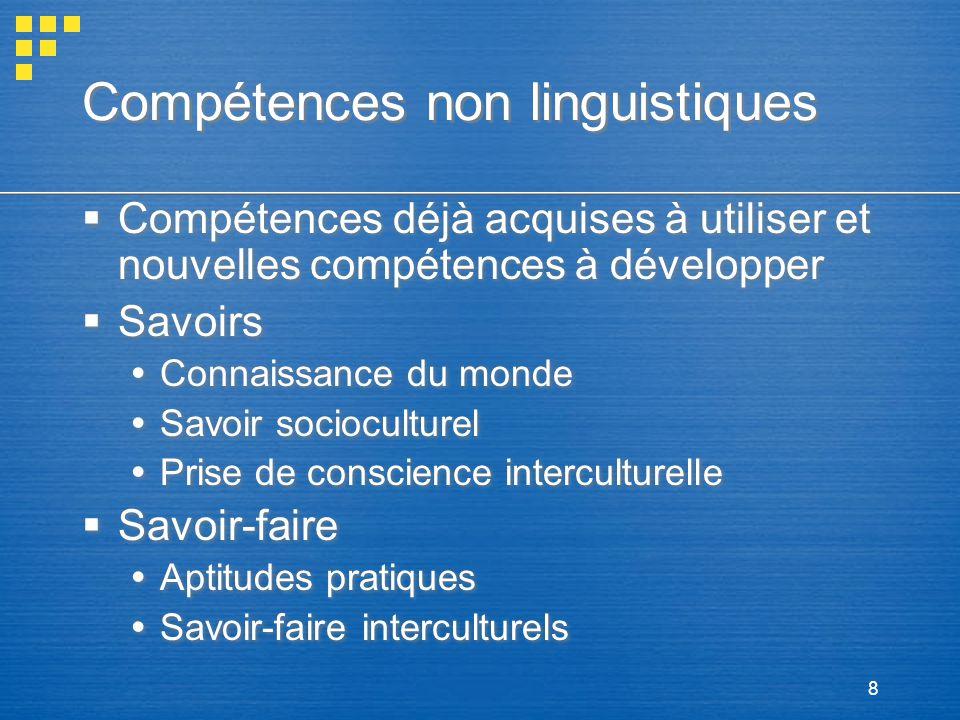 8 Compétences non linguistiques Compétences déjà acquises à utiliser et nouvelles compétences à développer Savoirs Connaissance du monde Savoir socioc