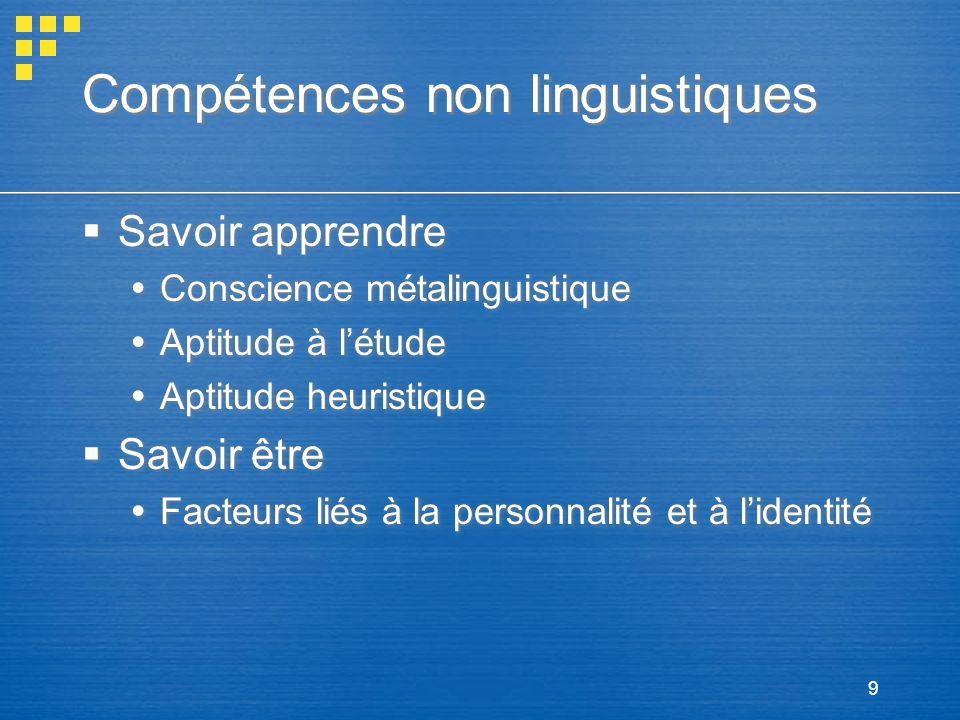 9 Compétences non linguistiques Savoir apprendre Conscience métalinguistique Aptitude à létude Aptitude heuristique Savoir être Facteurs liés à la per