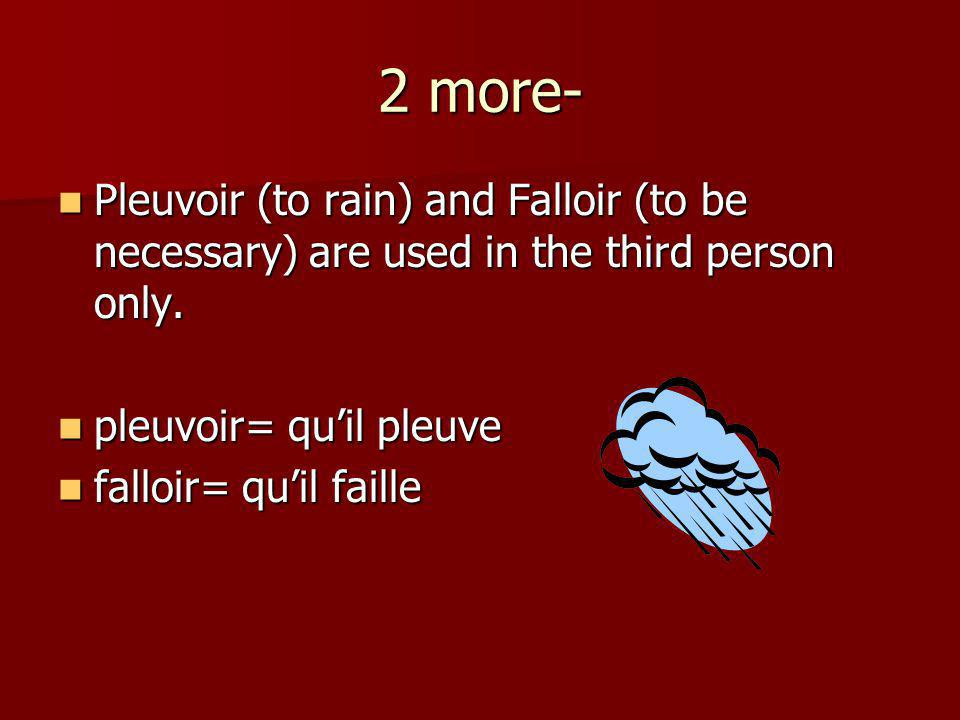 2 more- Pleuvoir (to rain) and Falloir (to be necessary) are used in the third person only. Pleuvoir (to rain) and Falloir (to be necessary) are used