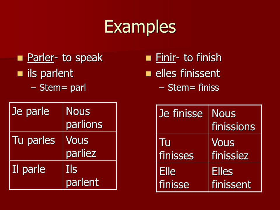 Examples Parler- to speak Parler- to speak ils parlent ils parlent –Stem= parl Finir- to finish Finir- to finish elles finissent elles finissent –Stem