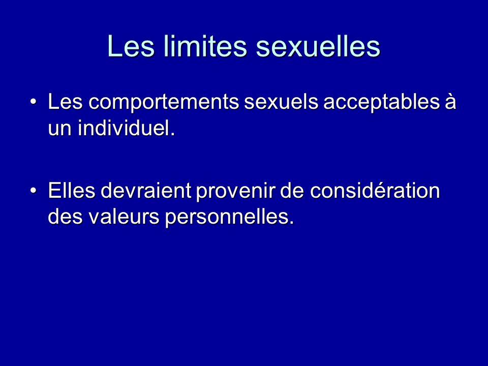 Les limites sexuelles Les comportements sexuels acceptables à un individuel.Les comportements sexuels acceptables à un individuel.