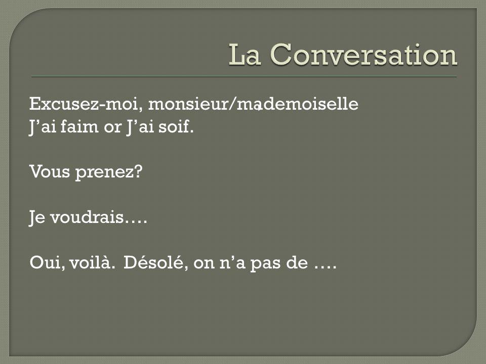 Excusez-moi, monsieur/mademoiselle Jai faim or Jai soif.