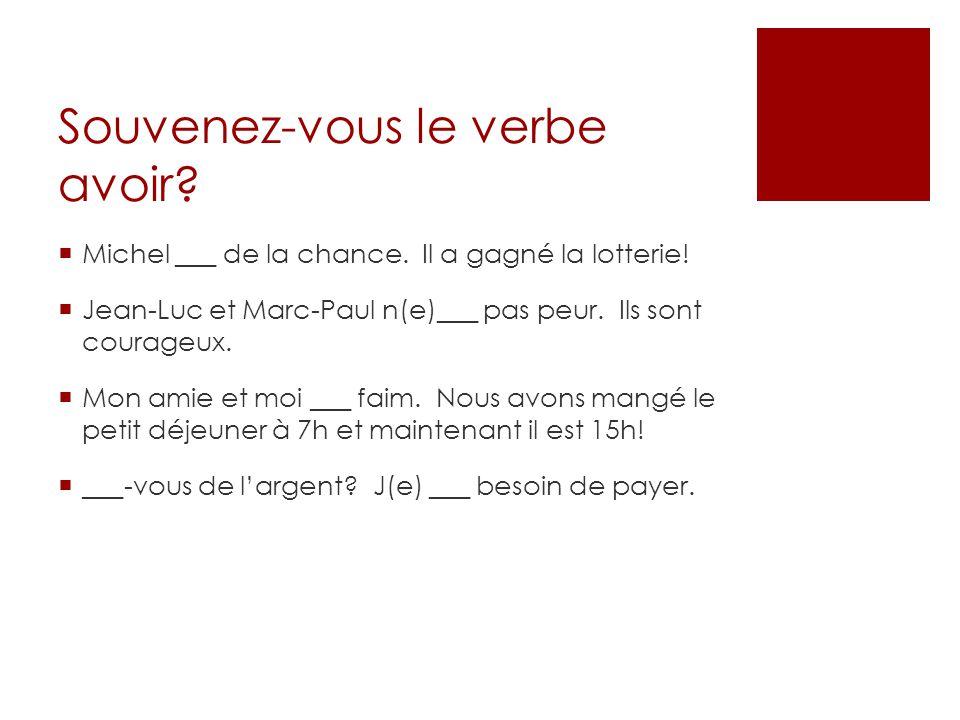 Souvenez-vous le verbe avoir? Michel ___ de la chance. Il a gagné la lotterie! Jean-Luc et Marc-Paul n(e)___ pas peur. Ils sont courageux. Mon amie et