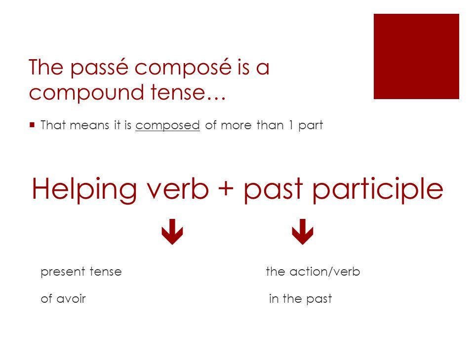 The passé composé is a compound tense… That means it is composed of more than 1 part Helping verb + past participle present tense the action/verb of a