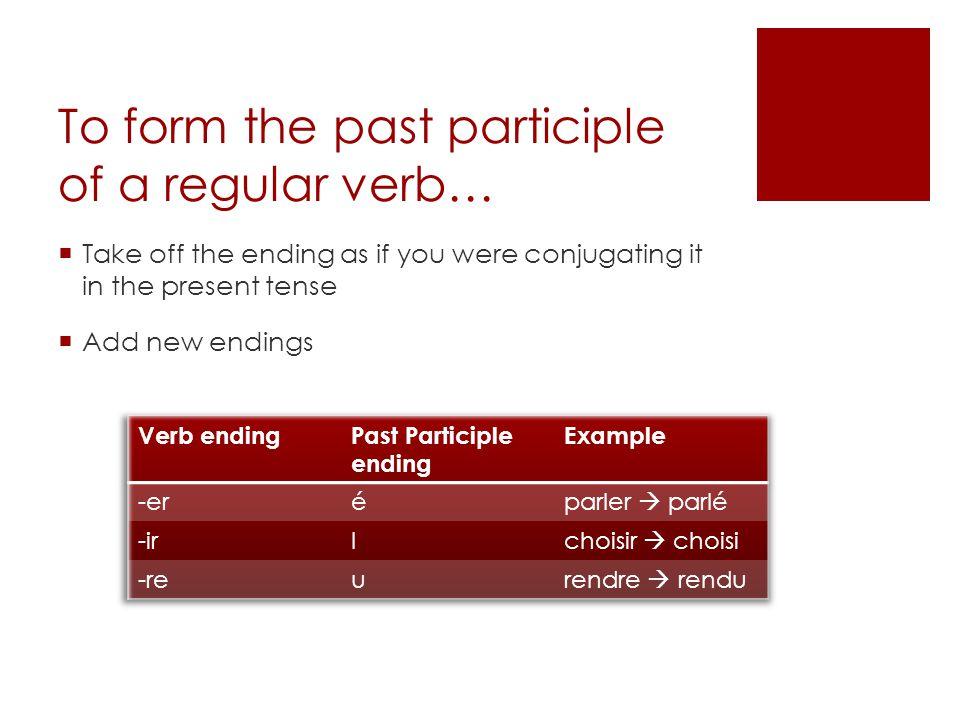 helping verb + past participle Ecrivez les verbes au passé composé Exemple: tu/chanter tu as chanté Il/perdre Nous/réussir Je/passer Vous/nettoyer