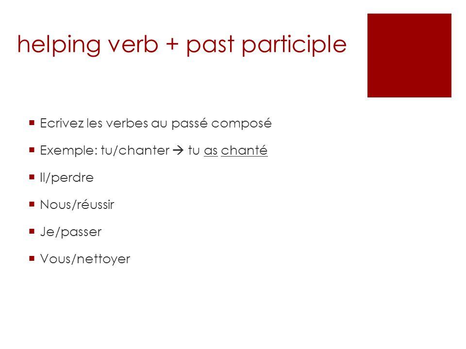 La forme négative To write a sentence negatively in the past tense, put ne…pas around the helping verb (avoir) Ex: Marc na pas rangé sa chambre.