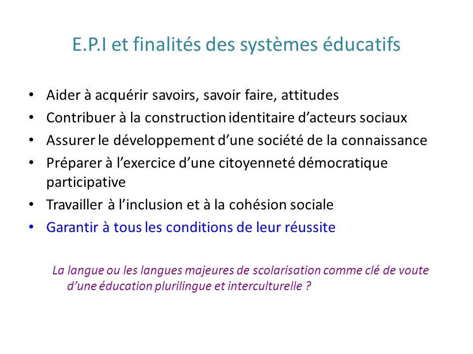 E.P.I et finalités des systèmes éducatifs Aider à acquérir savoirs, savoir faire, attitudes Contribuer à la construction identitaire dacteurs sociaux