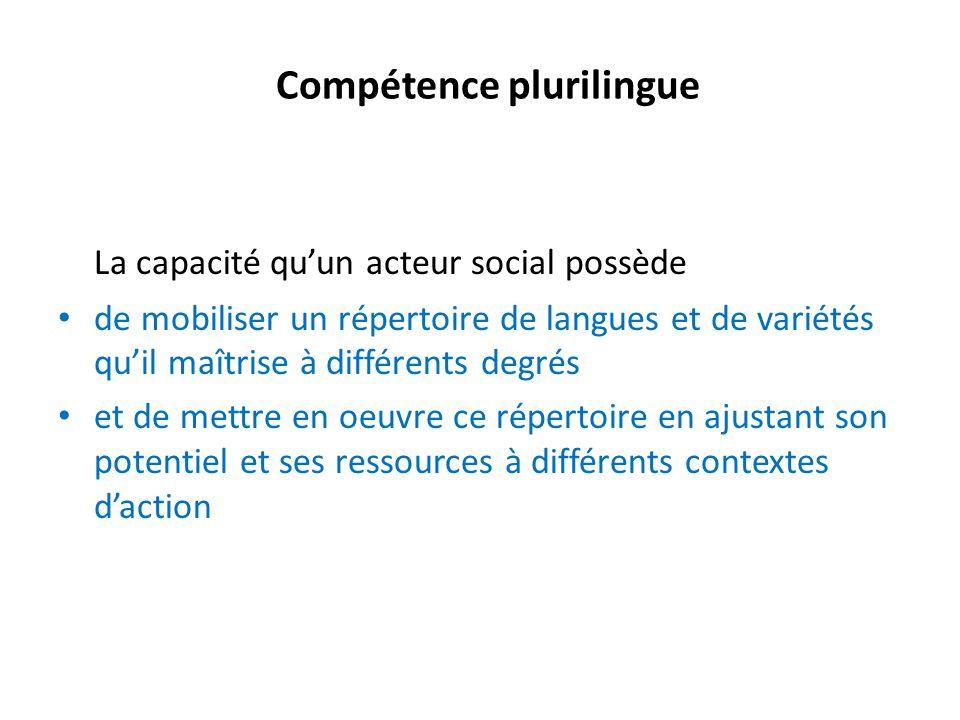 Compétence plurilingue La capacité quun acteur social possède de mobiliser un répertoire de langues et de variétés quil maîtrise à différents degrés e