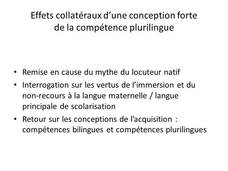 Effets collatéraux dune conception forte de la compétence plurilingue Remise en cause du mythe du locuteur natif Interrogation sur les vertus de limme