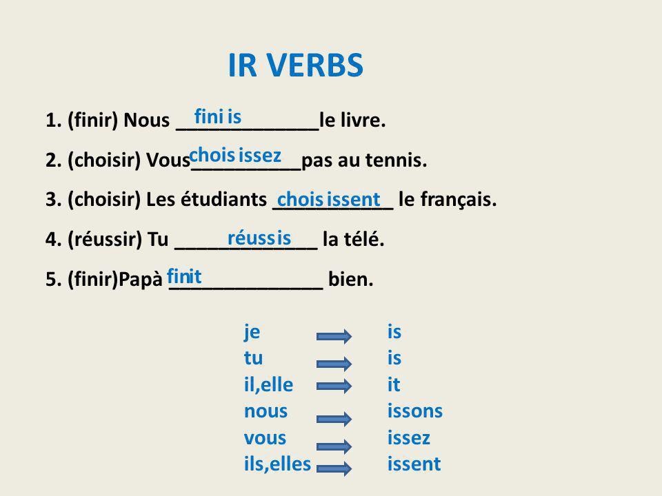 1. (finir) Nous _____________le livre. 2. (choisir) Vous__________pas au tennis. 3. (choisir) Les étudiants ___________ le français. 4. (réussir) Tu _