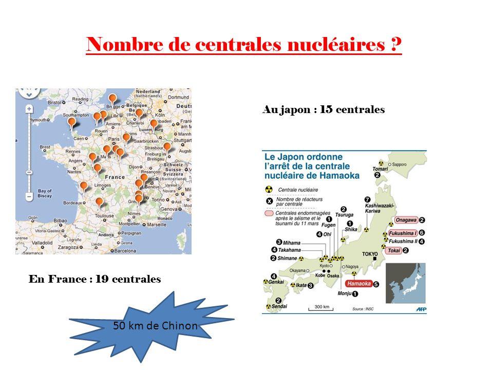 Au japon : 15 centrales Nombre de centrales nucléaires ? En France : 19 centrales 50 km de Chinon