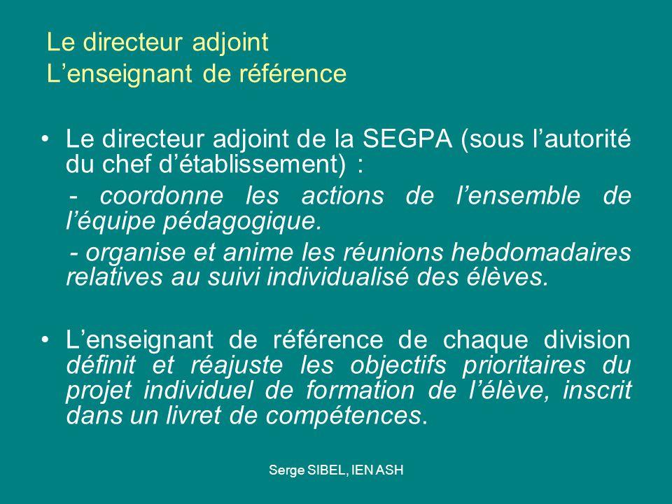 Serge SIBEL, IEN ASH Le directeur adjoint Lenseignant de référence Le directeur adjoint de la SEGPA (sous lautorité du chef détablissement) : - coordonne les actions de lensemble de léquipe pédagogique.