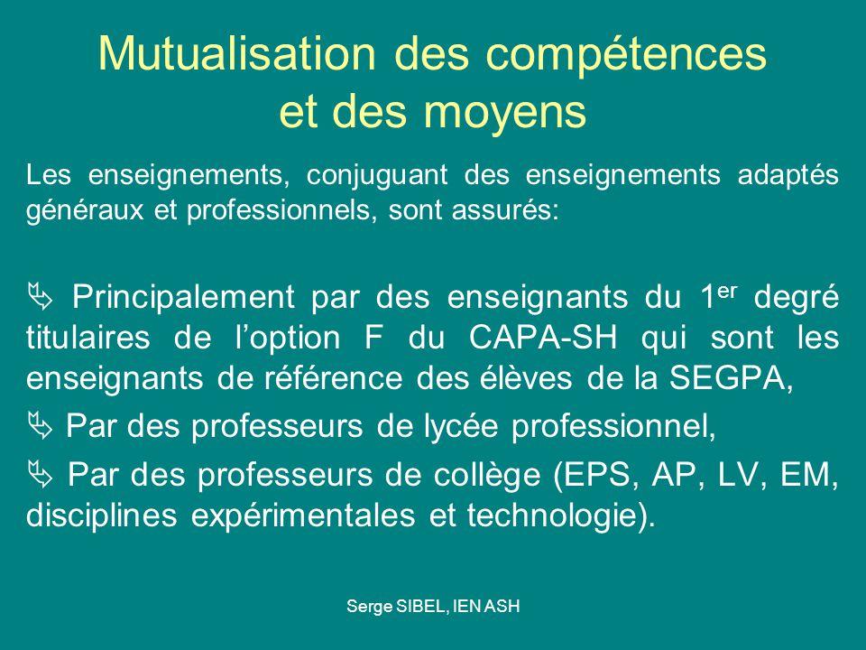 Serge SIBEL, IEN ASH Mutualisation des compétences et des moyens Les enseignements, conjuguant des enseignements adaptés généraux et professionnels, s
