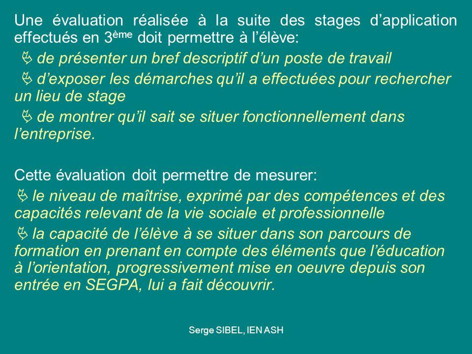 Serge SIBEL, IEN ASH Une évaluation réalisée à la suite des stages dapplication effectués en 3 ème doit permettre à lélève: de présenter un bref descr