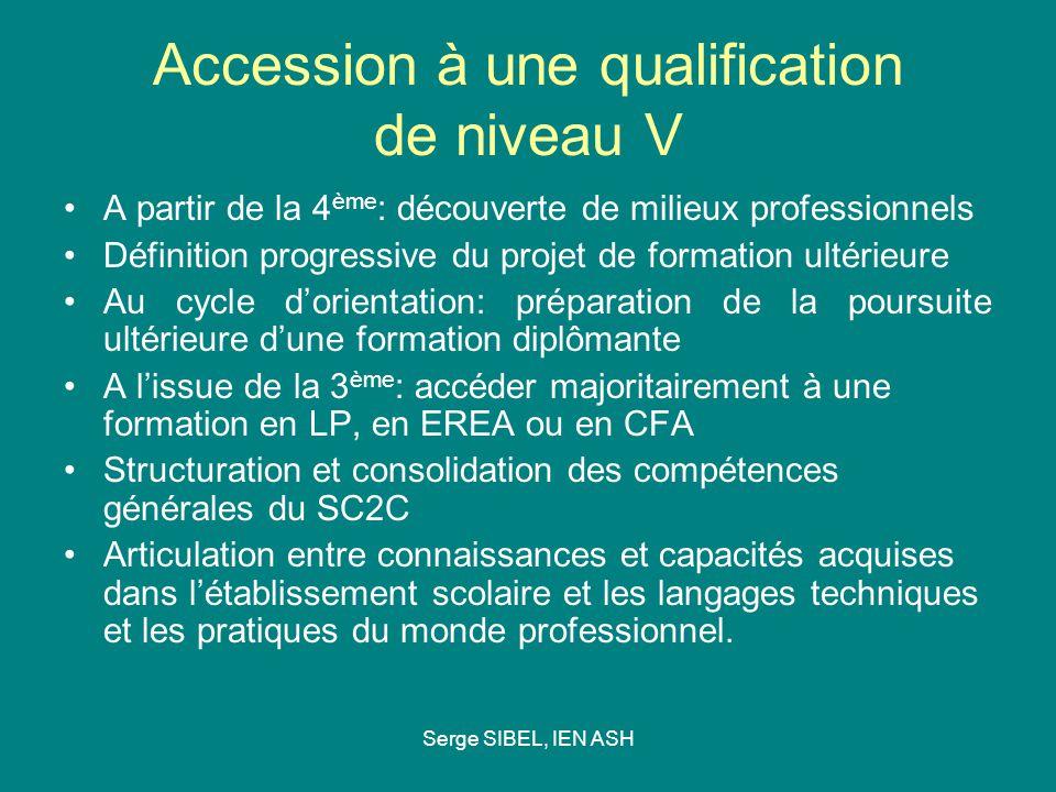 Serge SIBEL, IEN ASH Accession à une qualification de niveau V A partir de la 4 ème : découverte de milieux professionnels Définition progressive du p