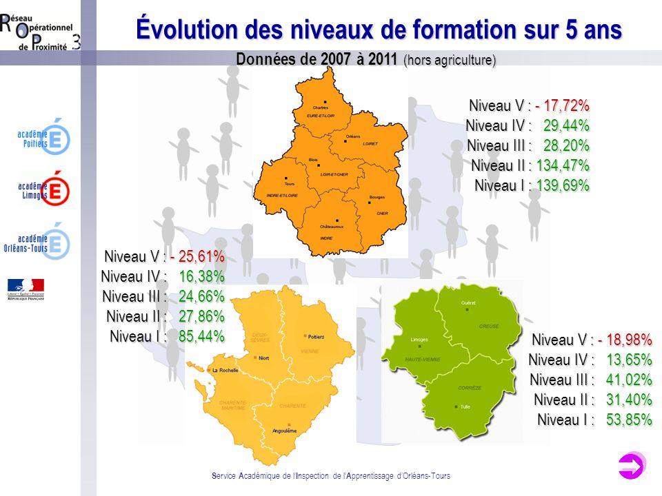 Évolution des niveaux de formation sur 5 ans S ervice A cadémique de l I nspection de l A pprentissage dOrléans-Tours Données de 2007 à 2011 (hors agr