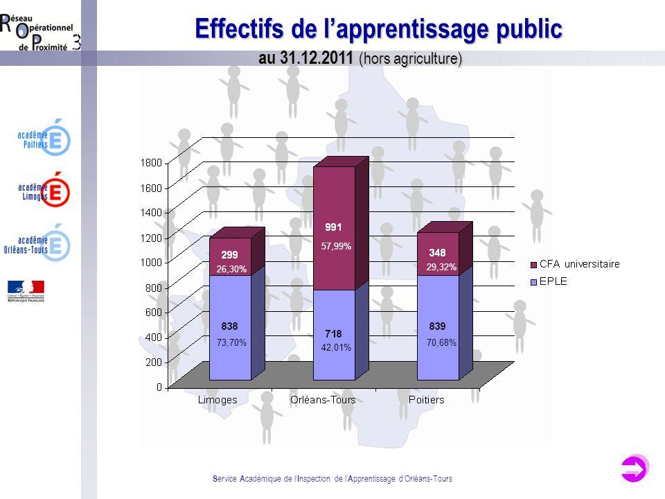 S ervice A cadémique de l I nspection de l A pprentissage dOrléans-Tours Répartition des effectifs en EPLE par niveau de formation au 31.12.2011 (hors agriculture) 32,21% 42,36% 37,35% 20,29% 36,21% 50,97% 12,81% 42,36% 32,21% 50,78% 0,97%