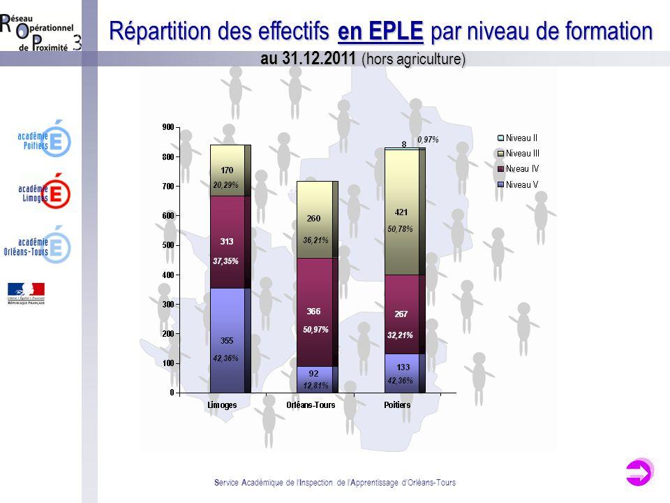 S ervice A cadémique de l I nspection de l A pprentissage dOrléans-Tours Répartition des effectifs en EPLE par niveau de formation au 31.12.2011 (hors