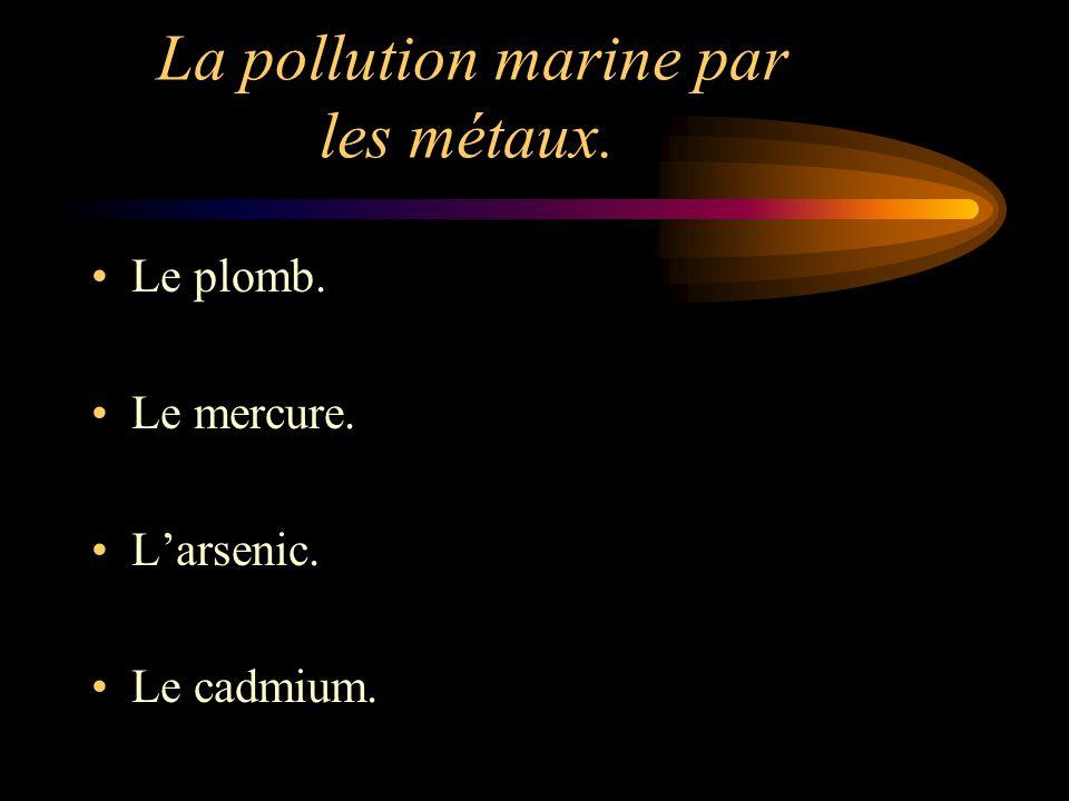 La pollution marine par les métaux. Le plomb. Le mercure. Larsenic. Le cadmium.