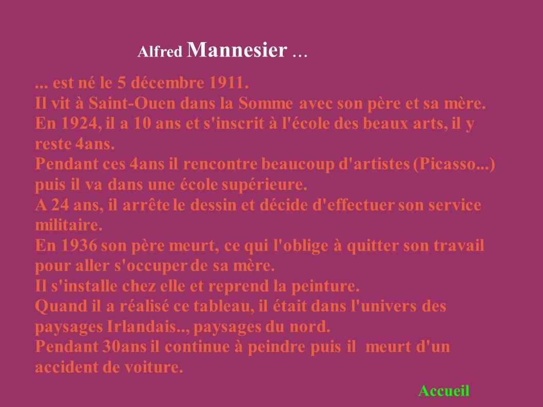 Alfred Mannesier...... est né le 5 décembre 1911. Il vit à Saint-Ouen dans la Somme avec son père et sa mère. En 1924, il a 10 ans et s'inscrit à l'éc