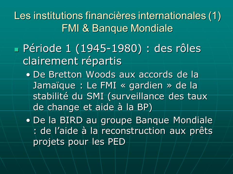 Les institutions financières internationales (1) FMI & Banque Mondiale Période 1 (1945-1980) : des rôles clairement répartis Période 1 (1945-1980) : d