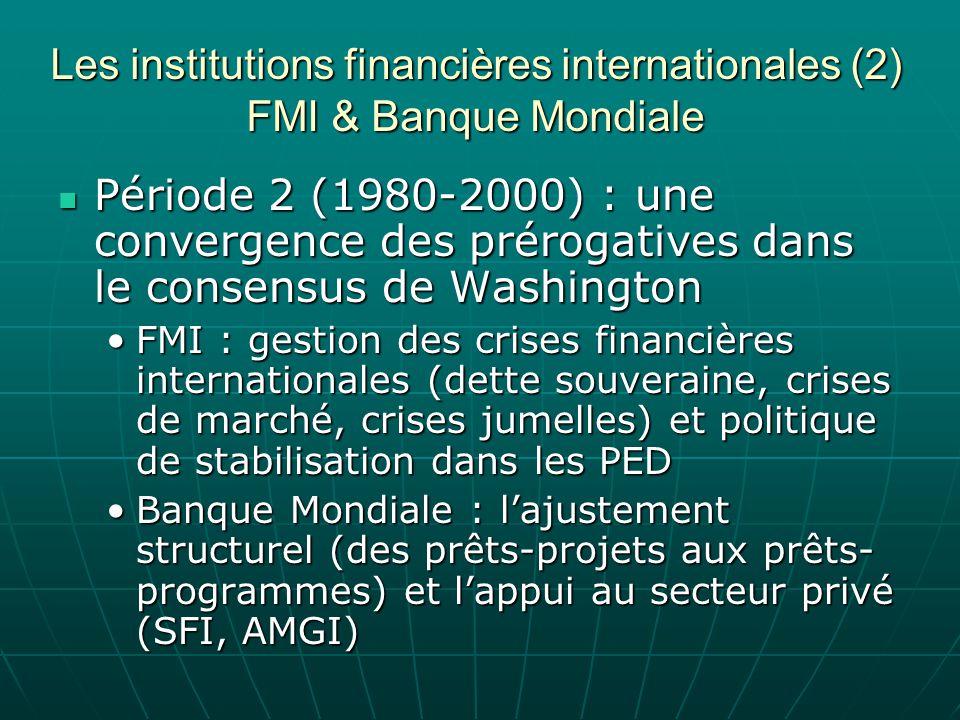 Les institutions financières internationales (2) FMI & Banque Mondiale Période 2 (1980-2000) : une convergence des prérogatives dans le consensus de W