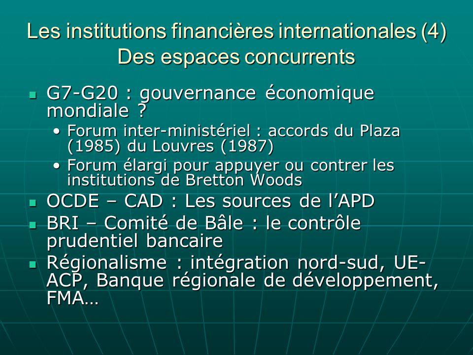 Les institutions financières internationales (4) Des espaces concurrents G7-G20 : gouvernance économique mondiale ? G7-G20 : gouvernance économique mo